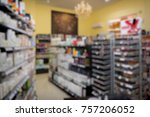 blurred store shelf with...   Shutterstock . vector #757206052