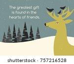 deer and bird friends perched...   Shutterstock .eps vector #757216528