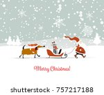 santa claus with cat and dog.... | Shutterstock .eps vector #757217188