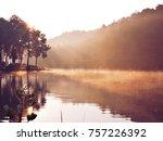 golden hours in the lake       | Shutterstock . vector #757226392