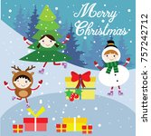 merry christmas snow holiday... | Shutterstock .eps vector #757242712