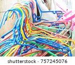 colorful hangers hangers   coat ... | Shutterstock . vector #757245076