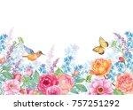 hummingbird butterfly flowers... | Shutterstock . vector #757251292