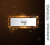 golden frame with lights... | Shutterstock .eps vector #757251922