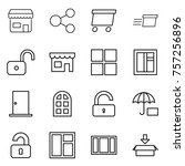 thin line icon set   shop ... | Shutterstock .eps vector #757256896