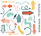 hand drawn colorful arrows... | Shutterstock .eps vector #757257676