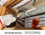 rolling shutter repairer....   Shutterstock . vector #757272952