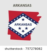 flag and map of arkansas.... | Shutterstock .eps vector #757278082