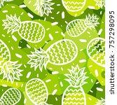 pineapple seamless background | Shutterstock .eps vector #757298095