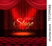 a theater stage with a red... | Shutterstock .eps vector #757299088