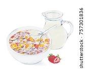 fruit muesli with fresh milk... | Shutterstock . vector #757301836