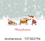 santa claus with dog  symbol of ... | Shutterstock .eps vector #757302796