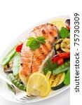 grilled salmon with vegetables... | Shutterstock . vector #75730309