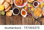 breakfast with coffee croissant ... | Shutterstock . vector #757303375