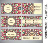 set of business cards with...   Shutterstock .eps vector #757304716