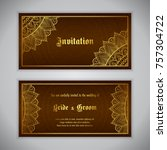 luxury wedding invitation with... | Shutterstock .eps vector #757304722