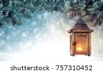 christmas background with... | Shutterstock . vector #757310452