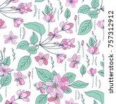 apple flowers tree blossom... | Shutterstock .eps vector #757312912