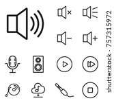 linear sound and volume icon set   Shutterstock .eps vector #757315972
