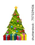 christmas tree with gift boxes... | Shutterstock .eps vector #757329436