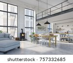 3d rendering. loft apartment... | Shutterstock . vector #757332685
