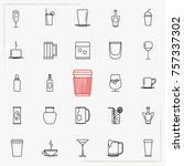linear drinks icons set....