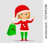 christmas elf cartoon vector... | Shutterstock .eps vector #757349188