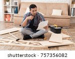 the young man tries himself to... | Shutterstock . vector #757356082