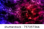 blue and red glowing artificial ... | Shutterstock . vector #757357366