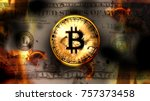 bitcoin crypto currency over...   Shutterstock . vector #757373458