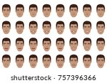 emotions set. black man with... | Shutterstock .eps vector #757396366