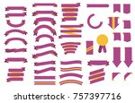 set of purple ribbons with... | Shutterstock .eps vector #757397716