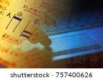man hand on a laptop keyboard... | Shutterstock . vector #757400626