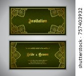 luxury wedding invitation with... | Shutterstock .eps vector #757403932