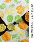 Small photo of Citrus Stamp Paint Project in Lime Green, Lemon Yellow & Vibrant Orange. Option 3