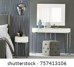 classic bedroom interior with... | Shutterstock . vector #757413106