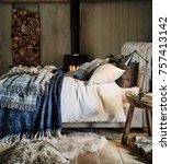 classic bedroom interior with... | Shutterstock . vector #757413142