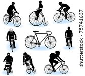 bicycling silhouettes | Shutterstock .eps vector #75741637