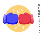 boxing gloves fight icon. blue... | Shutterstock . vector #757422352
