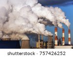 exhaust smoke and air pollution ... | Shutterstock . vector #757426252