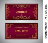 luxury wedding invitation with... | Shutterstock .eps vector #757428106