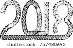 tire tracks . new year 2018.... | Shutterstock .eps vector #757430692
