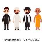 set of cute cartoon priests of... | Shutterstock . vector #757432162