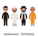 set of cute cartoon priests of...   Shutterstock . vector #757432162
