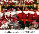 stands with a lot christmas... | Shutterstock . vector #757433602