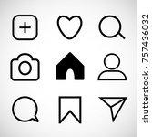vector set of social network... | Shutterstock .eps vector #757436032