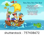 row  row  row poem illustration | Shutterstock .eps vector #757438672