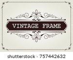 vintage frame with beautiful... | Shutterstock .eps vector #757442632