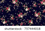 flower pattern navy background | Shutterstock . vector #757444018