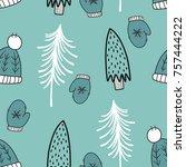 vector seamless christmas... | Shutterstock . vector #757444222